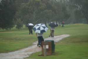 A group of Die Hard golfers head out into the rain