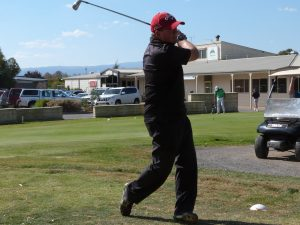 Steve McMahon teeing off prior to winter